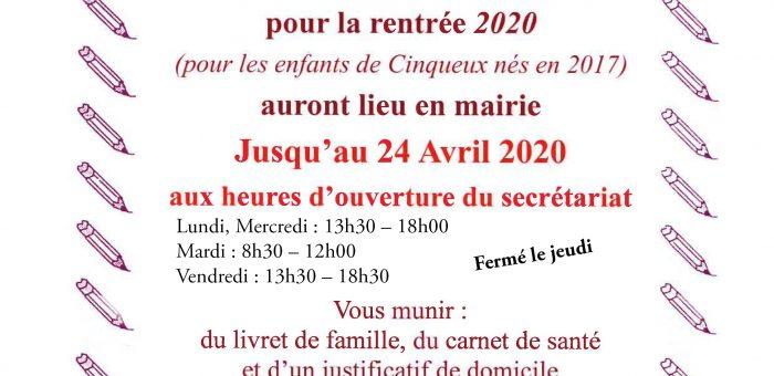 Inscriptions scolaires 2020
